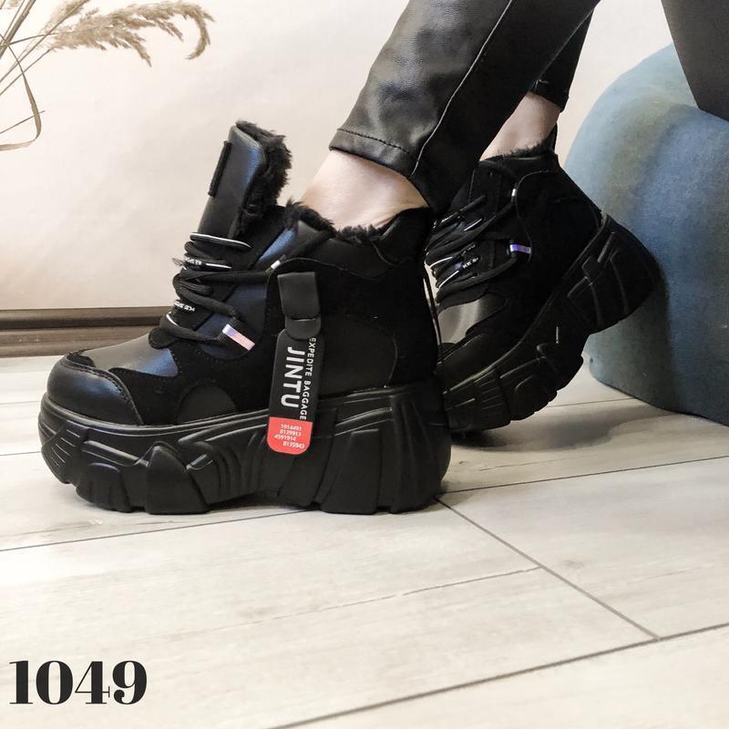 Ботинки на платформе grow, сникерсы с мехом, кроссовки женские... - Фото 7