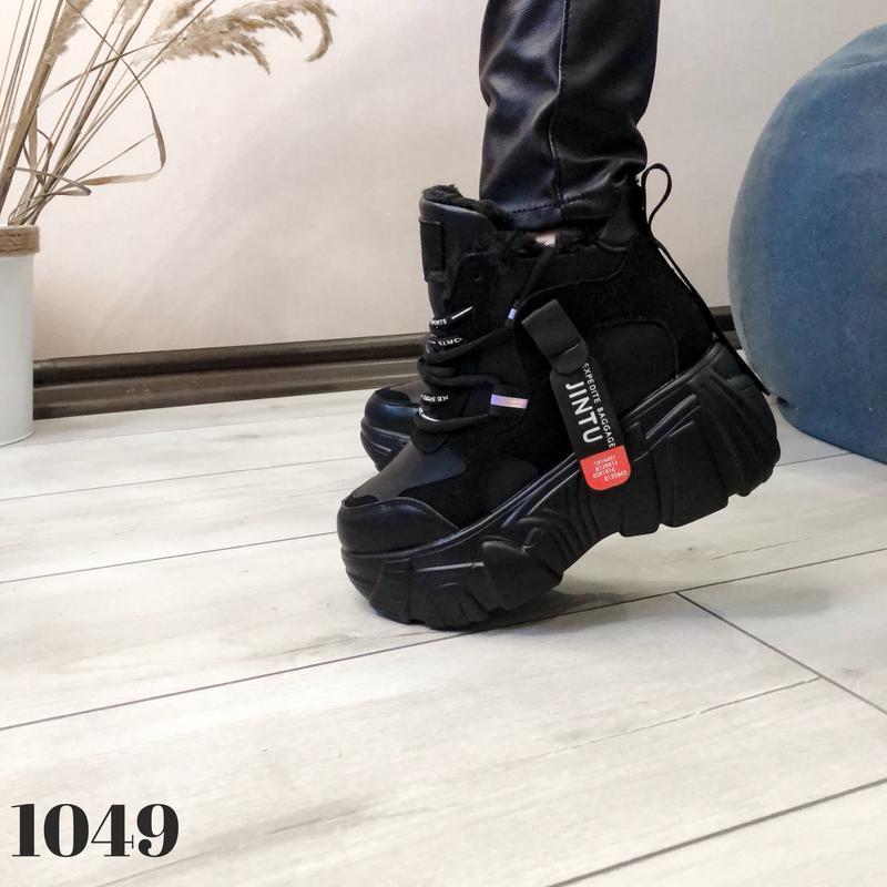 Ботинки на платформе grow, сникерсы с мехом, кроссовки женские... - Фото 8