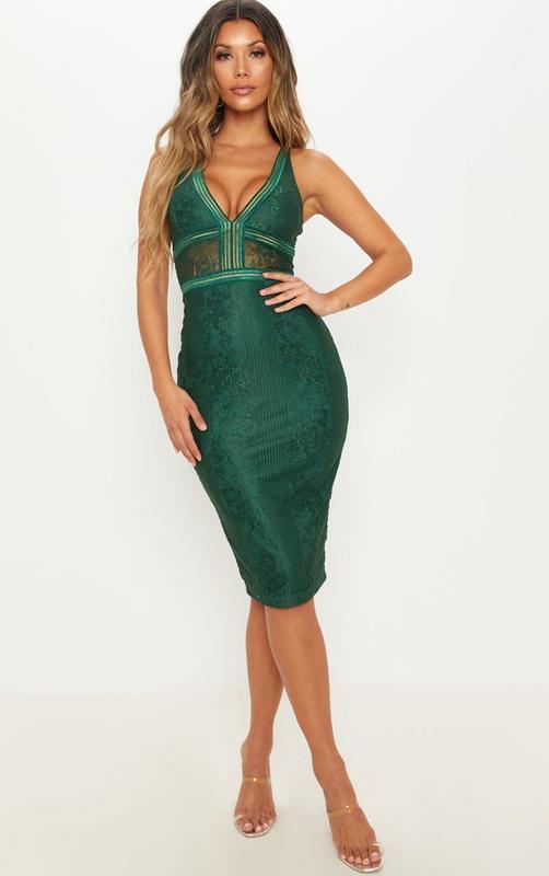 👑♥️final sale 2019 ♥️👑  роскошное зеленое кружевное платье миди