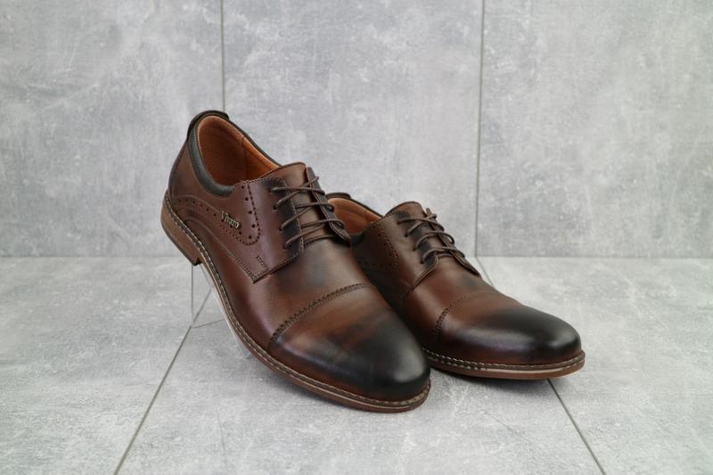 Мужские кожаные туфли коричневые