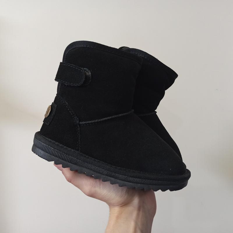 Угги натуральные замшевые черные ботинки зимние на меху на мал...