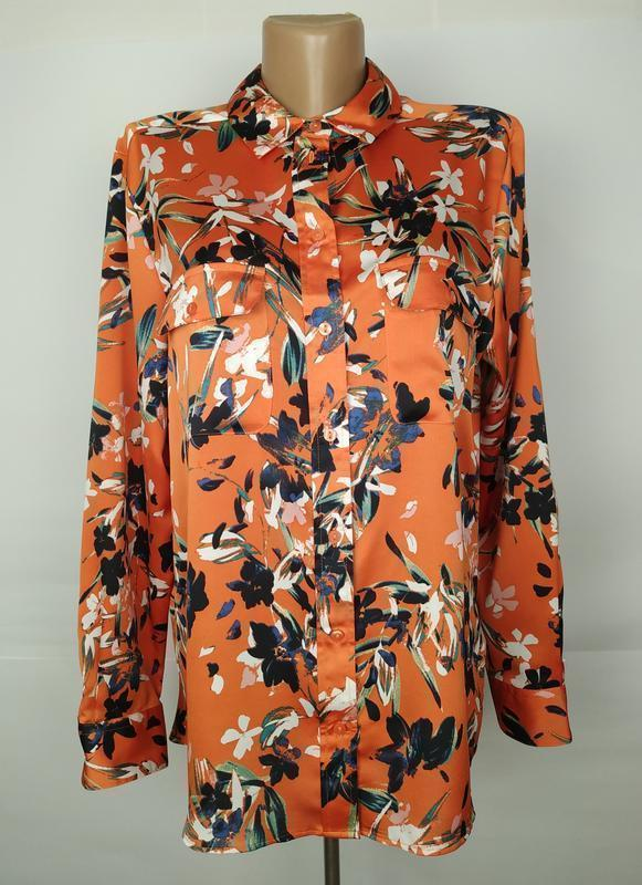 Блуза красивая оранжевая в цветы marks&specner uk 14/42/l