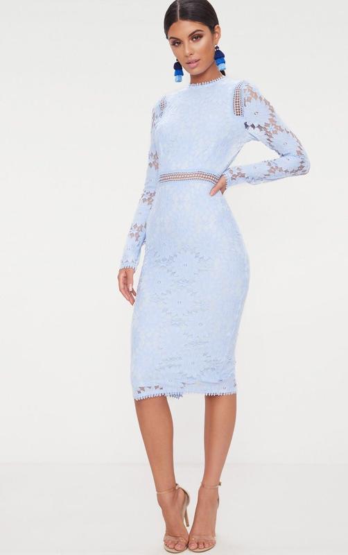👑♥️final sale 2019 ♥️👑  роскошное кружевное платье миди голубо...