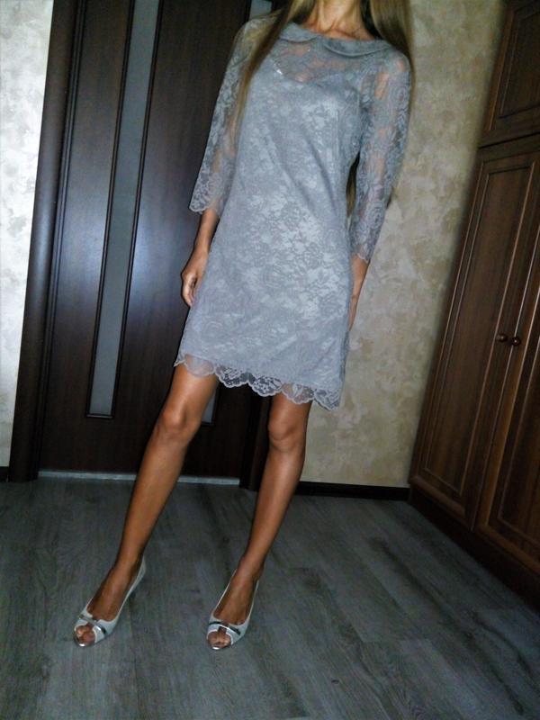 Англия👗красивейшее кружевное двойное платье с красивой спинкой
