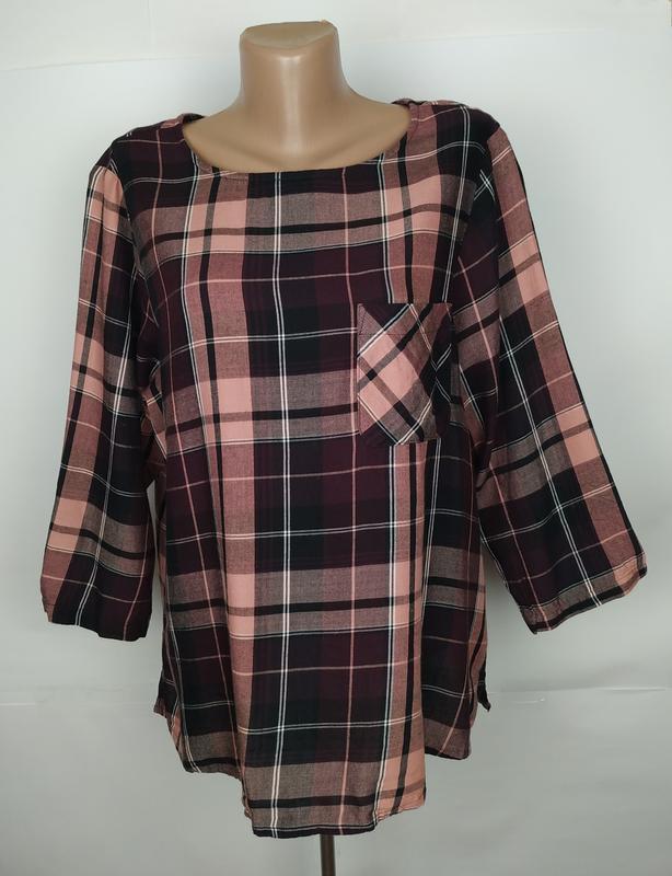 Блуза рубаха стильная в клетку большого размера marks&spencer ...