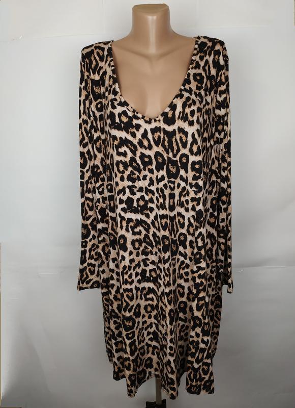 Платье трикотажное красивое тигровое большого размера evans uk...