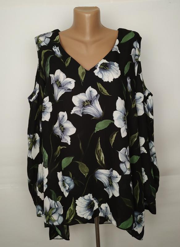Блуза красивенная шифоновая в цветы большой размер geroge uk 2...