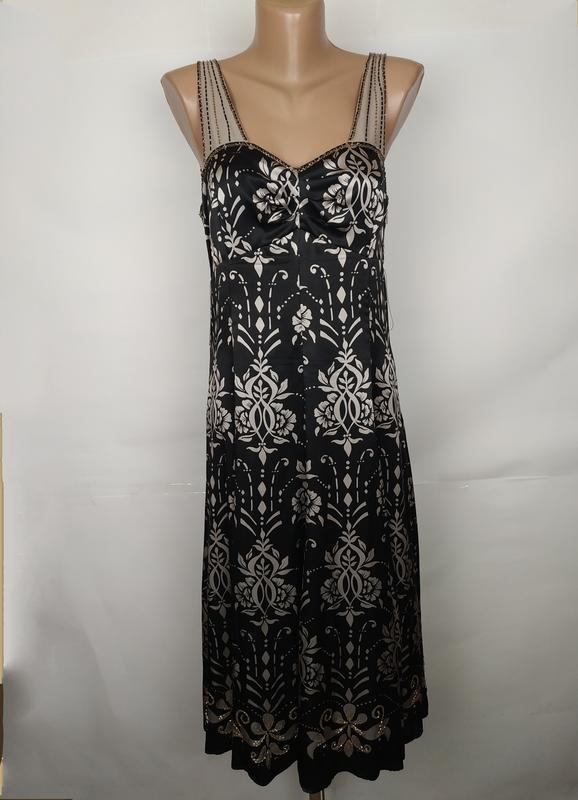 Платье шелковое красивое на подкладке вышитое бисером 100% шел...