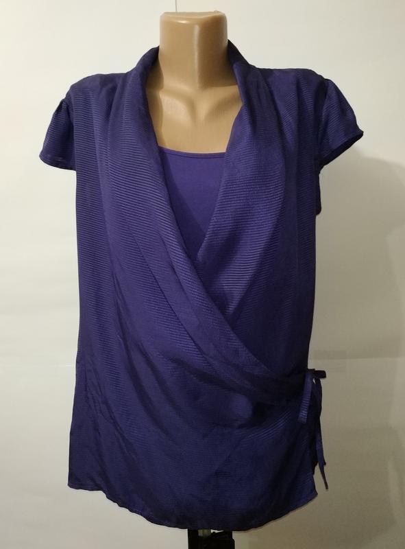 Блуза на запах фиолетовая красивая вискоза marks&spencer uk 14...