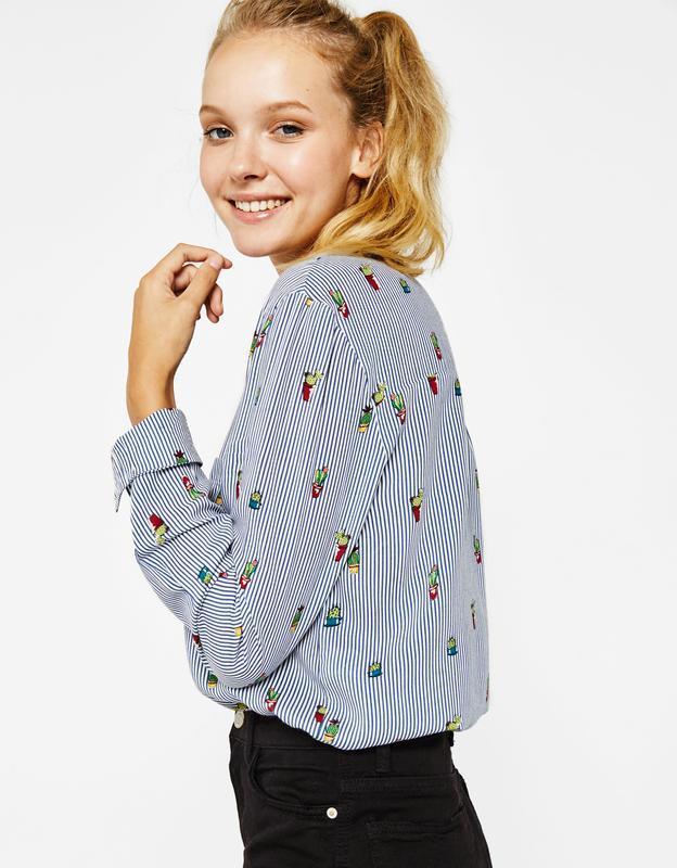 Милая рубашка в кактусы от bershka s