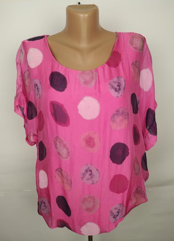 Блуза шелковая шикарная итальянская в горохи uk 14/42/l