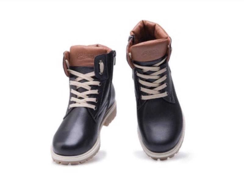 Подростковые кожаные качественные зимние ботинки