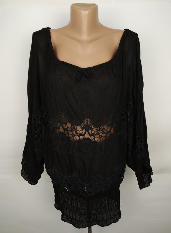 Блуза натуральная с кружевом италия uk 14/42/l