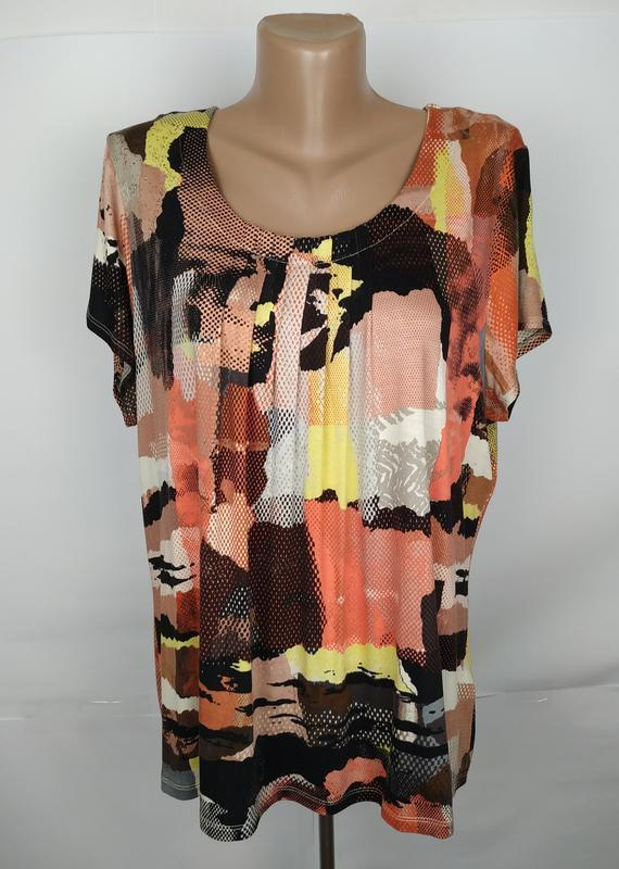 Блуза трикотажная красивая в принт marks&spencer uk 16/44/xl