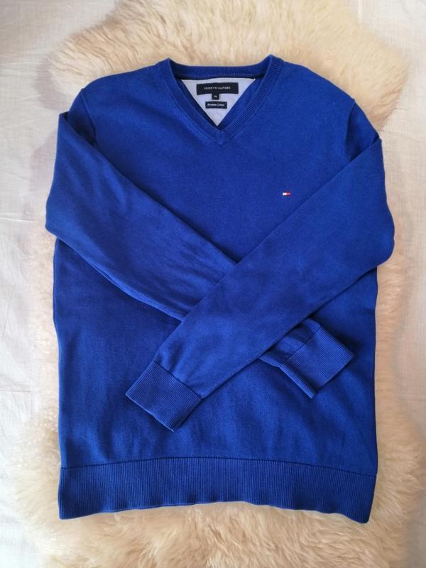 Свитер tommy hilfiger синего цвета с v-образным вырезом хлопко...