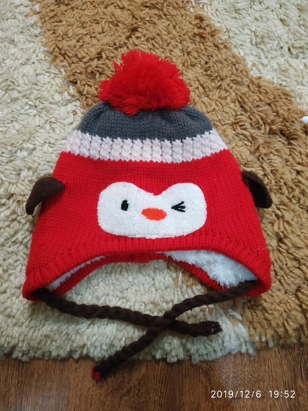 Теплая зимняя шапка на меху на 1,5-3 года