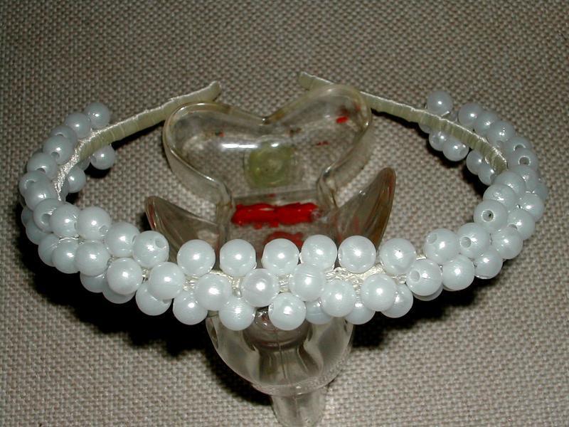 Белый обруч для волос hand made