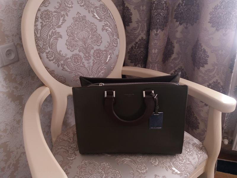 Сумка женская деловая оливкового цвета портфель