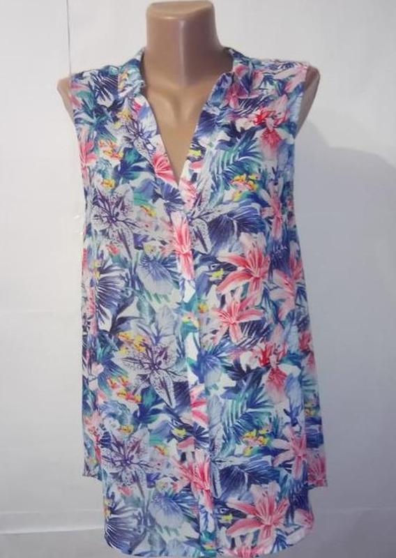 Блуза майка легкая цветочная h&m uk 12/40/m