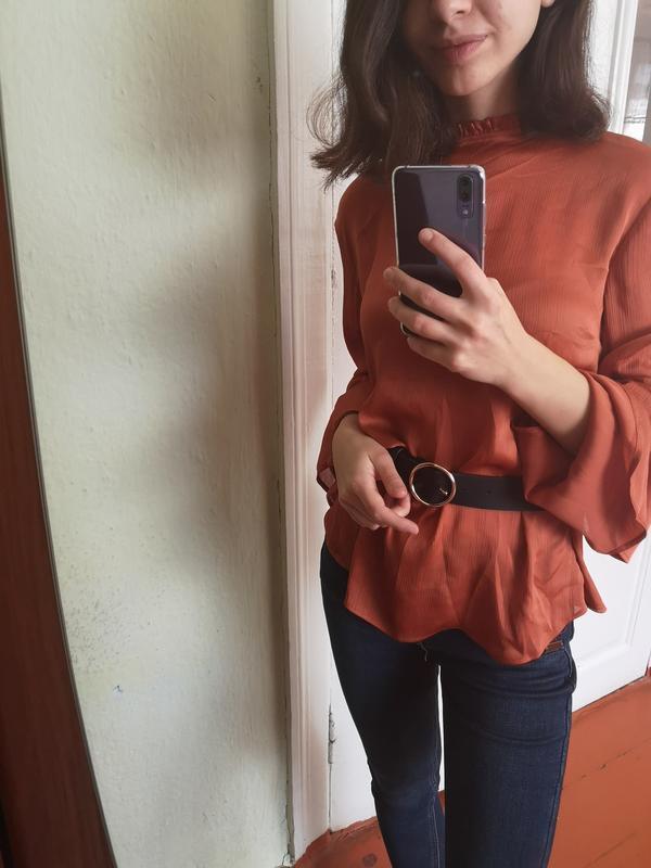 Нарядная терракотовая блуза