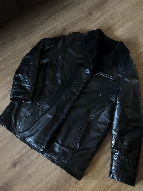 Тёплая кожаная куртка дублёнка зима
