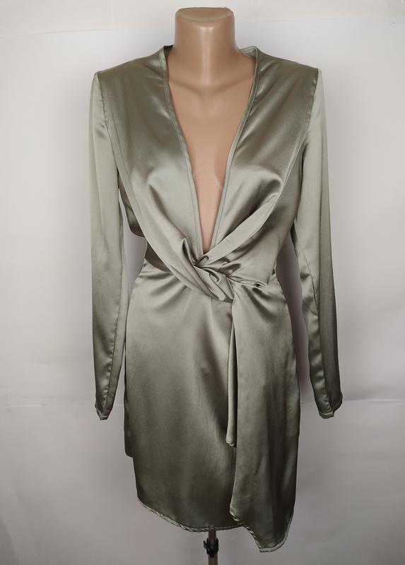 Платье оливковое легкое стильное missguided uk 6/34/xs