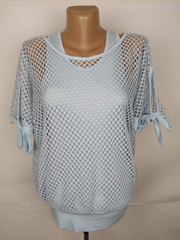 Блуза итальянская голубая сеточка uk 14/42/l