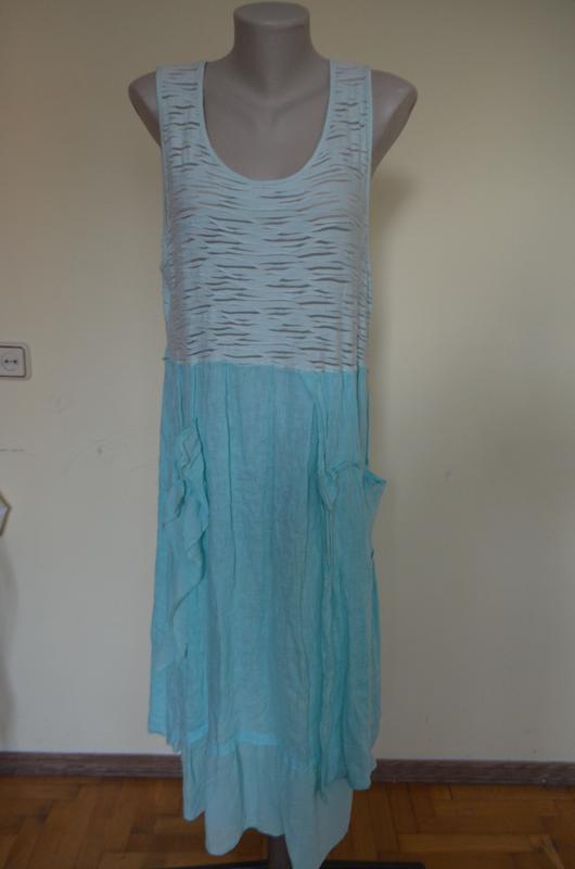Очень шикарное стильное итальянское платье лен свободного фасона