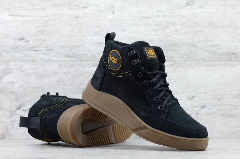 Качественные зимние натуральные мужские ботинки сапоги нубук