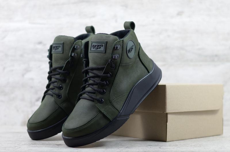 Натуральные кожаные зимние мужские ботинки сапоги кроссовки