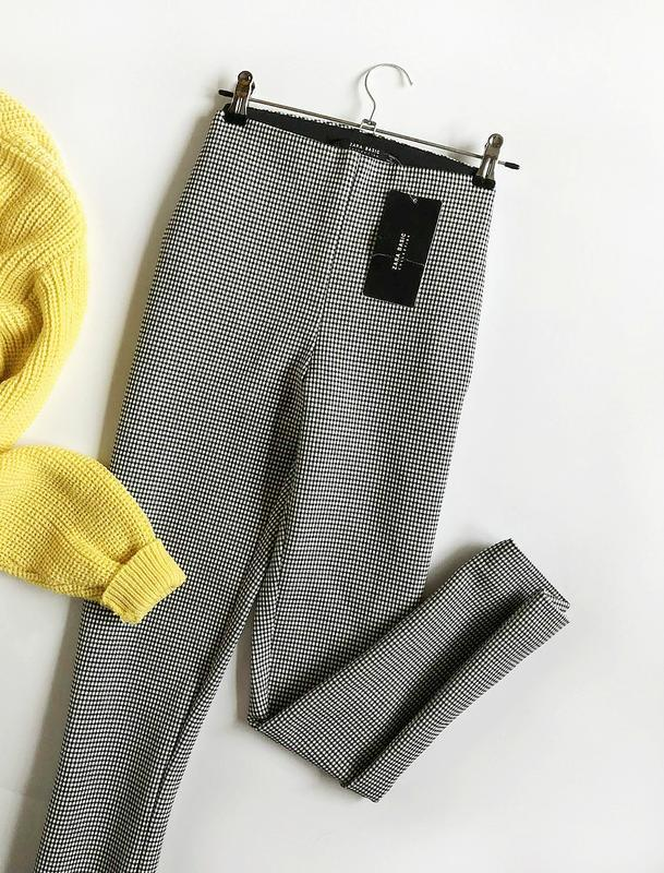 Идеальные зауженные брюки гусиная лапка zara