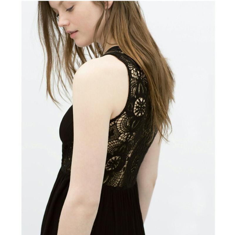 Комбинированное платье/сарафан длины миди с кружевной спиной о...
