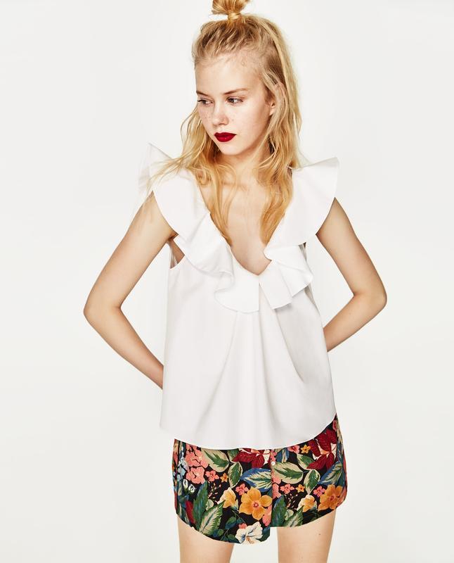 Хлопковая блуза топ с оборкой от zara