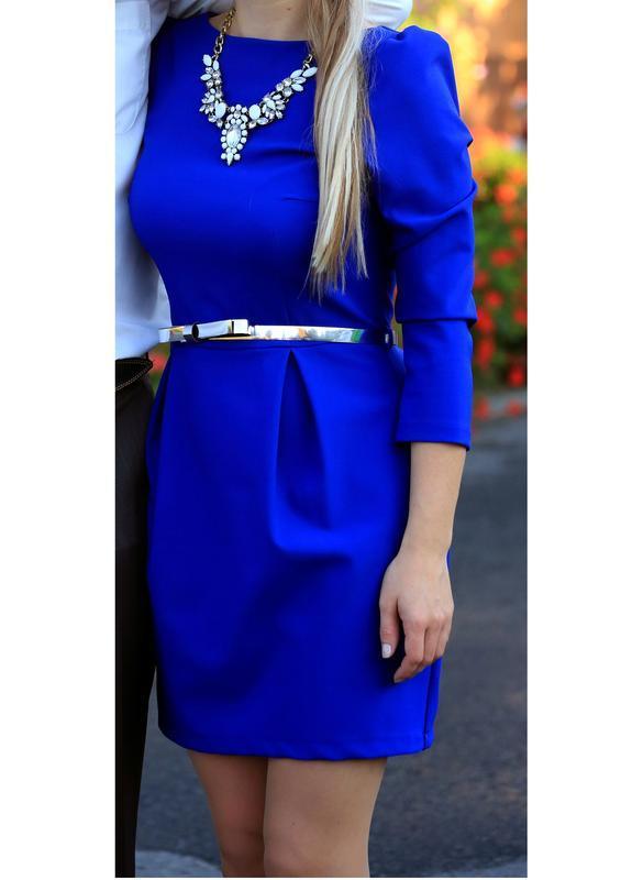 Синее платье с молнией на спине и поясом от trg titomir