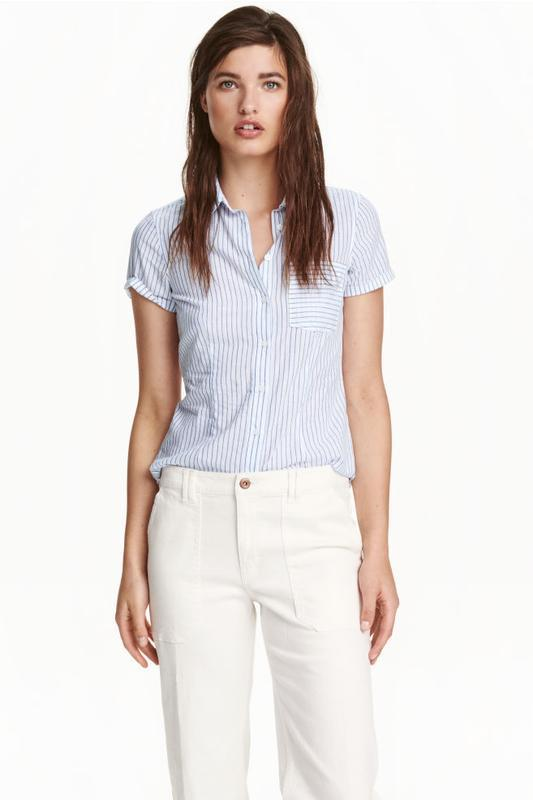 Хлопковая полосатая блуза блузка в полоску 100% хлопок от h&m