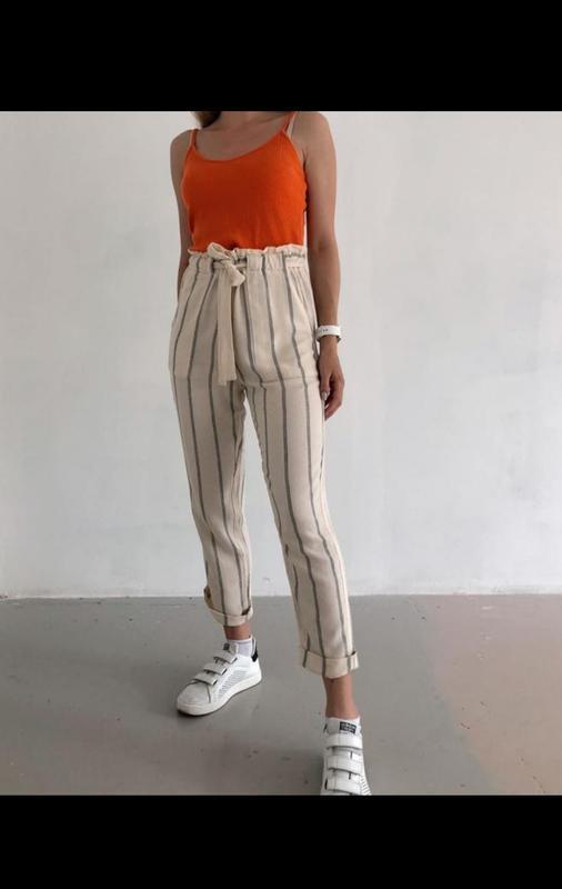 Полосатые штаны брюки в полоску высокая талия с поясом от h&m