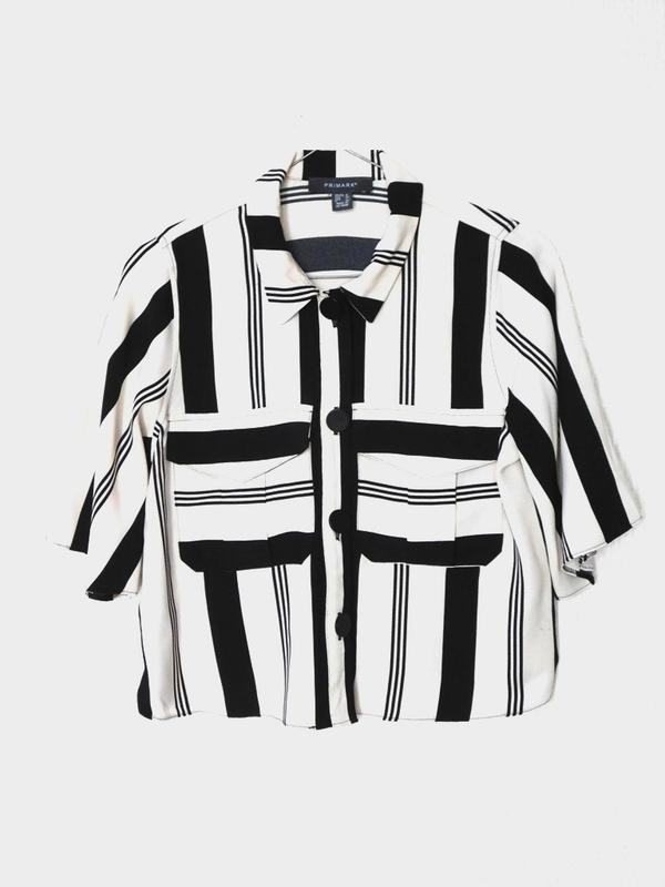 Полосатая укороченная блуза блузка рубашка топ в полоску с пуг...