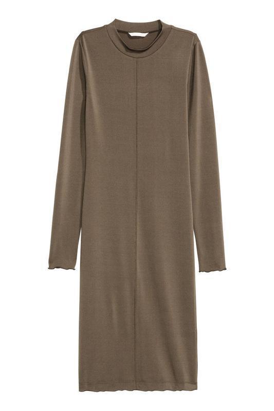 Трикотажное платье длины миди цвет темный хаки от h&m