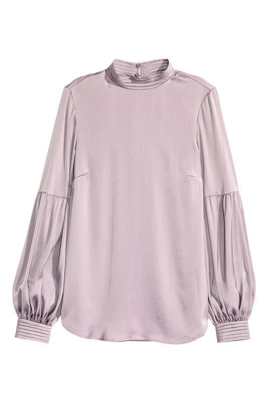 Сатиновая атласная блуза/блузка с мережками на манжетах от h&m
