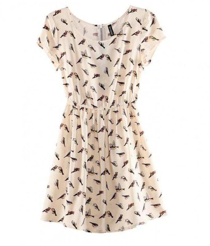 Вискозное платье принт птицы птички от h&m