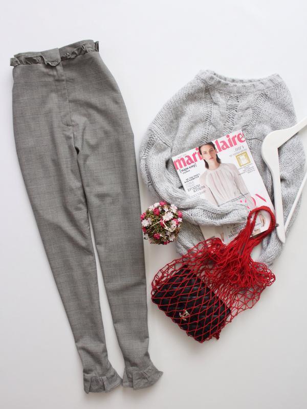 Трендовые штаны/брюки в клетку с оборками от h&m