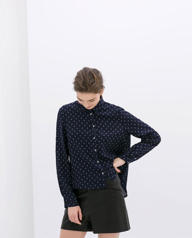 Вискозная рубашка/блуза принт якоря от zara