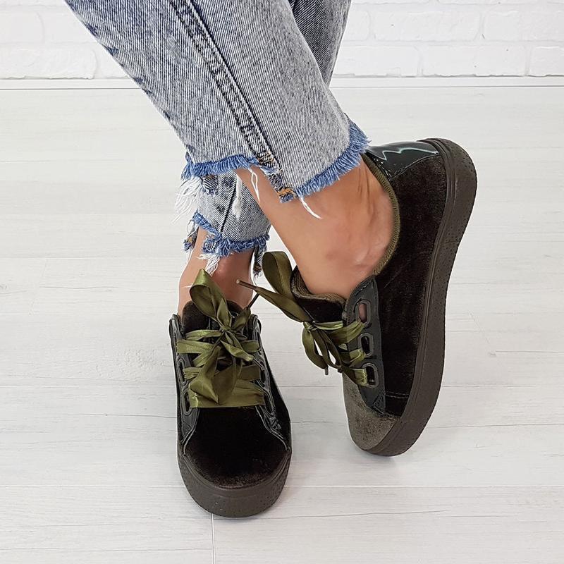 Женские кроссовки с атласными лентами в стиле puma криперы кед...