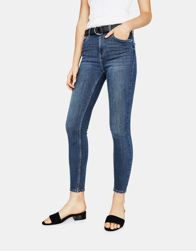 Джинсы штаны скинни высокая талия  с push-up эффектом от denimco
