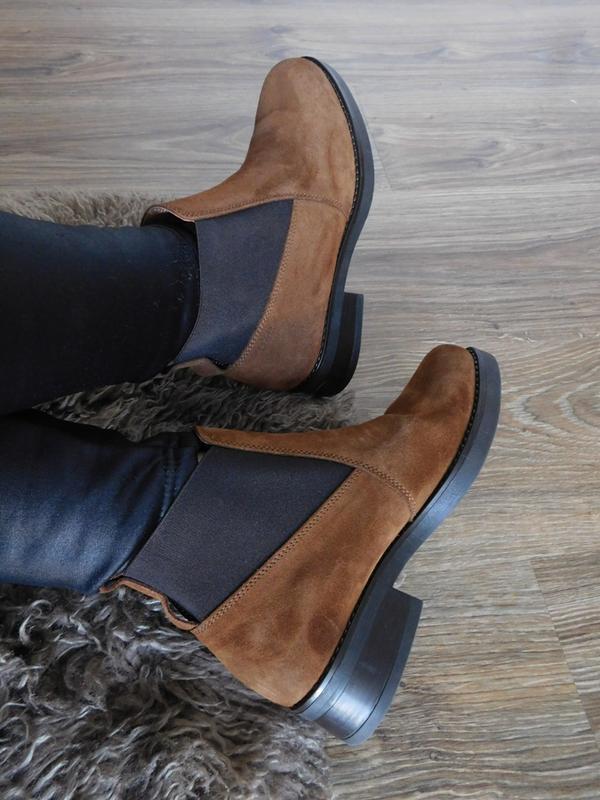 Замшевые ботинки челси ботильоны на низком ходу 100% натуральн...