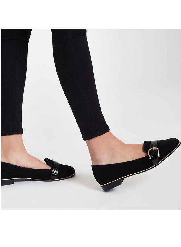 Туфли лоферы с пряжкой из искуственной замши на низком ходу от...
