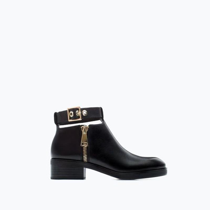 Кожаные ботинки челси с пряжкой от zara