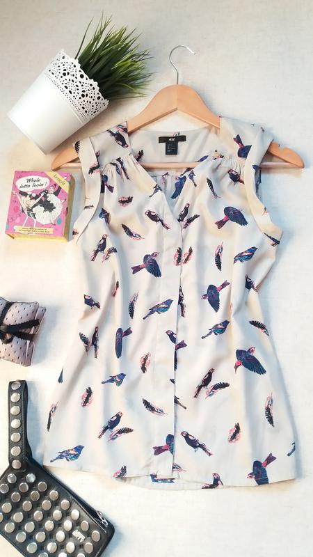 Блуза топ с поясом принт птицы  от h&m