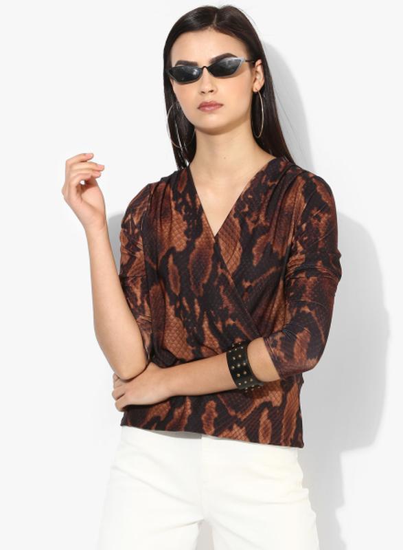 Блузка блуза на запах в анималистический принт питона от dorot...