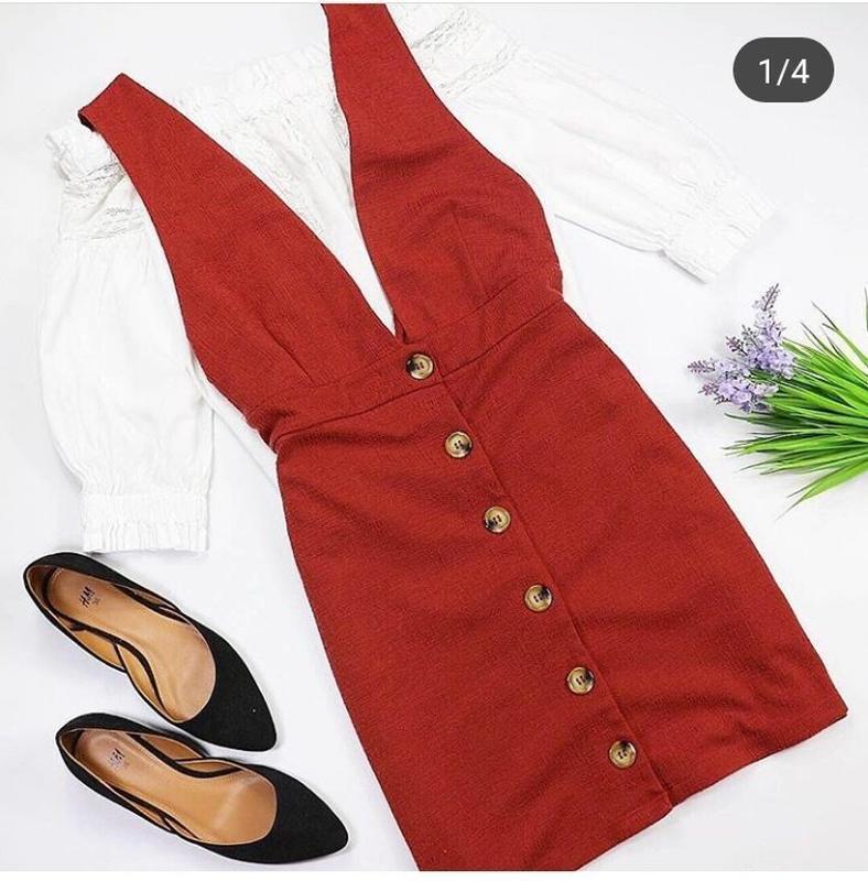 Платье комбинезон сарафан терракотовый на пуговицах с v-образн...